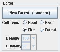 Symulacja pożaru lasu - panel edycji